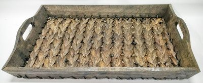 "Hyacinth & wood tray with handles 18.5""x12""x2""H"
