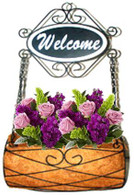 "Metal hanging planter with coco liner & wooden welcome sign 12""x8""x28""OH"