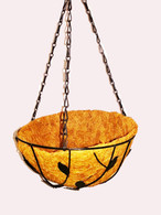 "12""D Hanging basket Planter leaves design w/Coco liner"