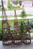 "S/3 Willow obelisks L:15.5""Dx60""H, M:13.5""Dx48""H, S:11.5""Dx36""H"