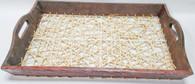 "Corn husk & wood tray w/handles 18.5""x12""x2""H (min 2, 20/crtn)"
