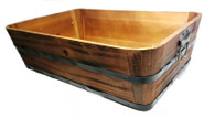 "Rectangular wood basket with metal handles & trim  16""x10""x4.5""H"