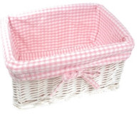 "Rectangular white willow basket w/pink fabric liner 15""x10""x7""H (min 2 , 30/crtn)"