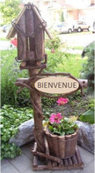 "BIENVENUE Wood & vine Birdhouse with tapered planter (Pot 7""Dx6""H) 32""OH (lined)"