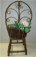 "Small Twig round back chair planter Chair 25""H, Planter: 10""Dx6""H"