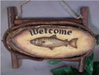 "Wood slice on twig frame w/fish resin applique ,11""x8""H (min 2)"