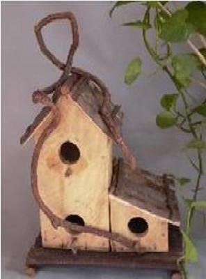 "PL571BHD - Twin wood, barkwood & vine hanging birdhouse 9""x5""x16.5""OH (min 1)"