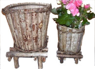 "S/2 Barkwood & wild roots tapered planters L-13""Dx10""x15""OH S-9.5""Dx7""x10""OH"