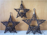 "Medium Black vine hanging star baskets -      18""Lx20""OH (min 2"