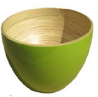 "Round bamboo bowl - Green 10.5""Dx7""H"