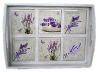 "Wooden tray with Lavender ceramic tiles 16""x11.5""x3""H"