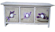 """Mini Wooden cabinet with 3 ceramic tiles decorated drawers 14""""x4""""x6""""H"""