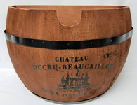 "Half barrel style wood container with black metal rings 15""x9.5""x10""H (min.1,8/crtn)"