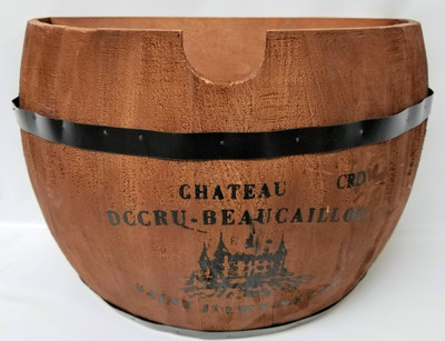 """Half barrel style wood container with black metal rings 15""""x9.5""""x10""""H (min.1,8/crtn)"""