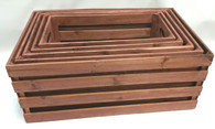 "Extra Small (XS) in S/5 (XS, S, M, L, XL) brown wooden crates   XS:17.5""x9.5""x9""H"