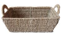 Rectangular natural seagrass basket w/handles
