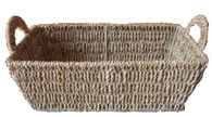 Rectangular natural seagrass basket w/handles