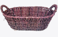 """Oval seagrass basket with handles  14""""x8""""x4.5""""H (Handle 6""""H)"""