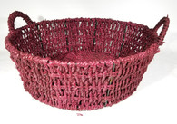 "Round brown seagrass basket w/handles 13""Dx4.5""Hx6""OH"