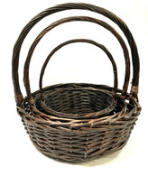 "Set of 4 Round willow baskets with handles XL:19""Dx7""Hx22""OH   L:17""Dx6""Hx19""OH   M:14.5""Dx5""Hx17""OH   S:12""Dx4""Hx15.5""OH"