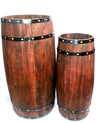 "S/2 Wood barrels with metal trim Large:Opening15""D x18""Centre D x37""H Small:Opening 10""Dx 13""Centre D x 30""H"