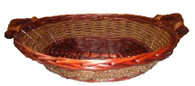 "CBL815V Oval  willow & seagrass basket with wooden handles 17""x15""x4""H (19"" including handles)"