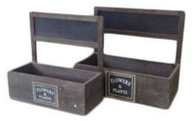 "S/2 Rectangular wood containers with chalkboard L: 14""x7""x4""H1x12""OH, S:12""x5""x4H1""x11.5""OH (min.2, 14/crtn)"