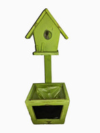 "Green wood planter with chalkboard & birdhouse 5""x5""x14""H (min.2, 18/crtn)"