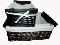 Largest in S/3 rectangular willow baskets with Canvas liner & wooden handles
