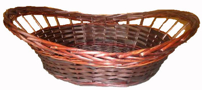"Boat shaped willow and chipwood basket 20""x14.5""x5""H""x7""OH (min 4, 40/bndl)"