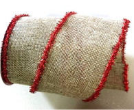 "Red trim wired burlap ribbon 25 yard/roll - 2.5"" wide"