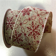 "Red Flakes wired burlap ribbon 25 yard/roll - 2.5"" wide"