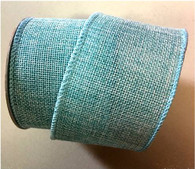 "Blue wired burlap ribbon 25 yard/roll - 2.5"" wide"