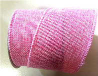 "Pink wired burlap ribbon 25 yard/roll - 2.5"" wide"