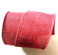 "Wired burlap ribbon dark red 25 yard/roll - 2.5"" wide"