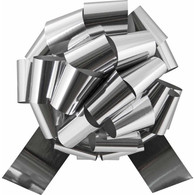 "4"" Metallic Pull Bows - 50 bows/case - Silver"