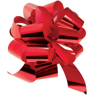 "8"" Metallic Pull Bows - 50 bows/case - Red"