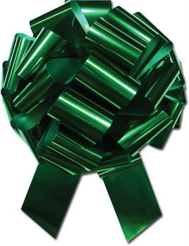 """8"""" Metallic Pull Bows - 50 bows/case - Forest Green"""