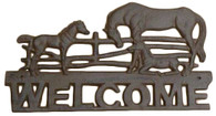 "Cast Iron Horses WELCOME 14""x8""H (min.3)"