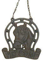 "CAST IRON HORSE W/WELCOME 8""X16""H (INCLUDING CHAIN)"