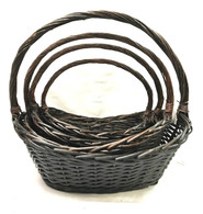 "Set of 4 Boat shaped willow baskets XL:22.5""x15""x6""H1x9""H2x18.5""OH L:19""x13""x5.5""H1x8""H2x16.5""OH M:16""x11""x5""H1x6.5""H2x15""OH S:14""x9""x4""H1x6""H2x12.5""OH"