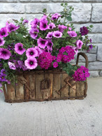 "Rectangular barkwood & vine planter with liner 16""x7""x6""Hx9""OH"
