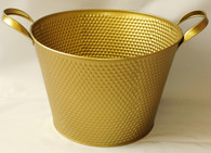 "Round Gold metal container 10""Dx7""H (Handle to handle 13"") (min.4, 20/crtn)"