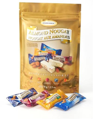 Golden Bonbon Assorted almond nougat 70 gr., 24/cs Kosher