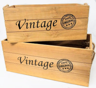 "Set of 2 Wood ""Vintage"" containers with rope handles L:18""x10""x8""H, S: 16""x8""x7""H"