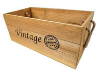 """Small Wood """"Vintage"""" containers with rope handles 16""""x8""""x7""""H"""
