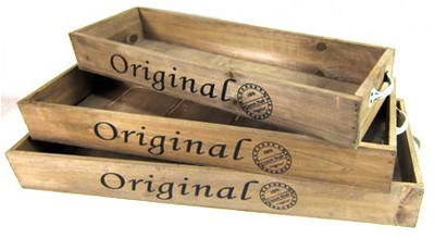 "Set of 3 Long trays with metal handles L:23""x8""x2.5""H, M: 21""x7""x2.5""H, S: 19""x6""x2.5""H"