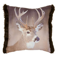 "Brown cushion with deer motif 19""x17""  Supple microfiber in velours, front elaborately printed brown with real stag motif, back plain, decorative faux fur trim on the sides, concealed zip on the back, removable filling."