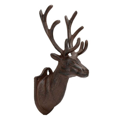 "Large Cast Iron Metal reindeer head wall decor 4""x 6"" x 12.5""H"