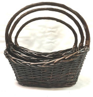 "Set of 3 Boat shaped willow baskets  L:19""x13""x5.5""H1x8""H2x16.5""OH M:16""x11""x5""H1x6.5""H2x15""OH S:14""x9""x4""H1x6""H2x12.5""OH"